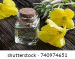 a bottle of evening primrose... | Shutterstock . vector #740974651