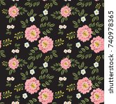 embroidery floral seamless... | Shutterstock .eps vector #740978365