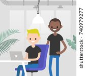 teamwork. office routine life....   Shutterstock .eps vector #740979277