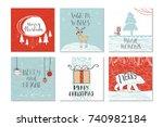 set of 6 cute christmas gift... | Shutterstock . vector #740982184