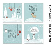 set of 4 cute christmas gift... | Shutterstock . vector #740982271