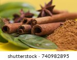 cinnamon stick and star anise... | Shutterstock . vector #740982895
