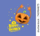 vector halloween funky rock n... | Shutterstock .eps vector #740984875