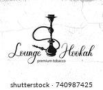 hookah vector logo design on... | Shutterstock .eps vector #740987425