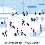 people sitting and walking in... | Shutterstock .eps vector #740988454