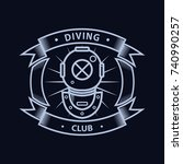 diving logo with old diving... | Shutterstock .eps vector #740990257