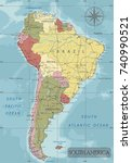 detailed south america... | Shutterstock .eps vector #740990521