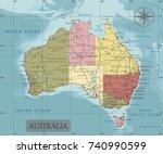 detailed australia political... | Shutterstock .eps vector #740990599