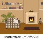 beige living room with...   Shutterstock .eps vector #740990911