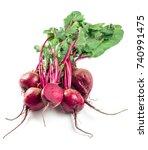beet  beetroot bunch on white...   Shutterstock . vector #740991475