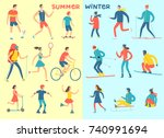 winter and summer activities... | Shutterstock .eps vector #740991694