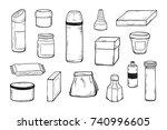 packaging vector set. blank...   Shutterstock .eps vector #740996605