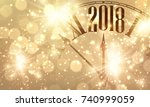2018 new year shining banner... | Shutterstock .eps vector #740999059