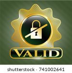 gold badge or emblem with... | Shutterstock .eps vector #741002641