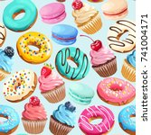 seamless pattern with sweets | Shutterstock .eps vector #741004171