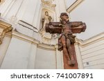 cross benedictine monastery and ... | Shutterstock . vector #741007891