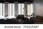 large spacious living room... | Shutterstock . vector #741015487