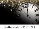 black 2018 new year shining... | Shutterstock .eps vector #741015721