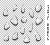 set of transparent drops of... | Shutterstock .eps vector #741018121
