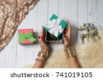 female hands with jewelry and... | Shutterstock . vector #741019105