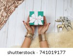 female hands with jewelry and... | Shutterstock . vector #741019177