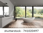 large spacious modern bathroom... | Shutterstock . vector #741020497