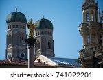 golden sculpture of st. mary... | Shutterstock . vector #741022201