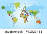 color world map | Shutterstock .eps vector #741023461
