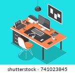 flat isometric 3d technology... | Shutterstock .eps vector #741023845