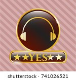 golden emblem with headphones... | Shutterstock .eps vector #741026521