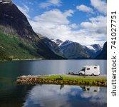 family vacation travel rv ... | Shutterstock . vector #741027751