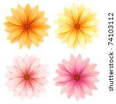 jpeg set of four daisy flowers... | Shutterstock . vector #74103112