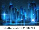 illuminated night city skyline  ... | Shutterstock .eps vector #741032701