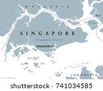 singapore political map with... | Shutterstock .eps vector #741034585