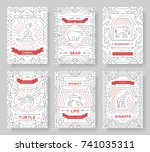 animal  thin line brochure... | Shutterstock .eps vector #741035311