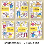 thin line beauty salon with... | Shutterstock .eps vector #741035455