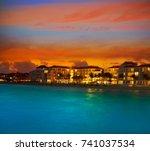 playa del carmen sunset beach... | Shutterstock . vector #741037534