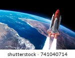 space shuttle launch in the...   Shutterstock . vector #741040714