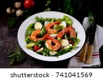 salad from shrimp tails with... | Shutterstock . vector #741041569