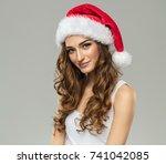 beautiful smiling female model... | Shutterstock . vector #741042085