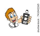 cartoon guy holding vaporizer... | Shutterstock .eps vector #741042265