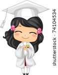 Illustration of a Kid Holding Her Diploma - stock vector