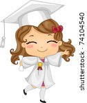 Illustration of a Kid Wearing Graduation Attire - stock vector