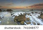 sea coast sea rocks beatiful... | Shutterstock . vector #741048577