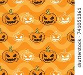 pumpkin halloween seamless... | Shutterstock .eps vector #741051361