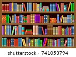 Bookcase With Books. Vector...