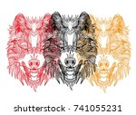 the head of a wolf. grin with... | Shutterstock .eps vector #741055231