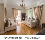 large living room very bright ...   Shutterstock . vector #741055624