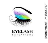 eyelash extension logo. makeup...   Shutterstock .eps vector #741056647