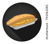 fish and chips icon round flat... | Shutterstock .eps vector #741061081